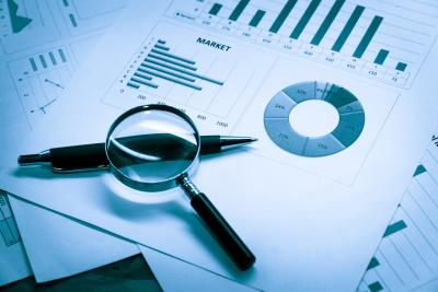 financial market analysis pie chart and bar chart